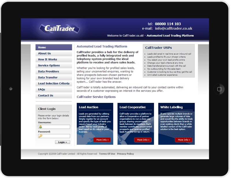 CallTrader Website Design and Content Management System Thumbnail