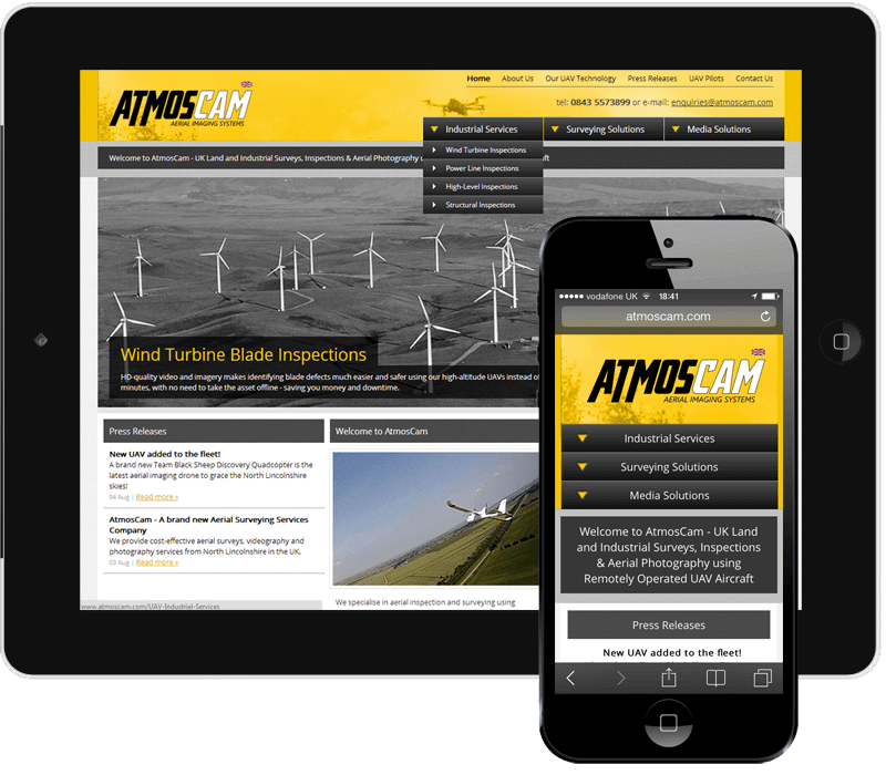AtmosCam Aerial Imaging Systems Ltd Responsive Website Thumbnail