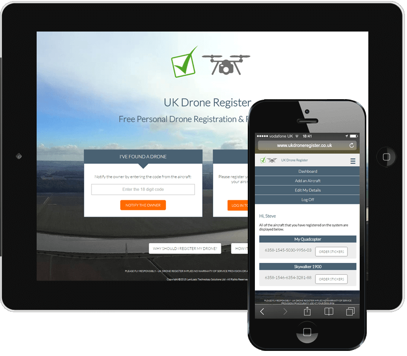 UK Drone Register Responsive Mobile Web Application Thumbnail
